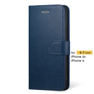 TUCCH iPhone 6 6s Wallet Case Folio Style Kickstand with Magnetic Strap-Blue