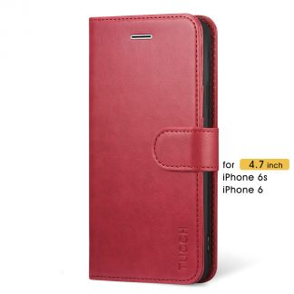 TUCCH iPhone 6 6s Wallet Case Folio Style Kickstand with Magnetic Strap-Red