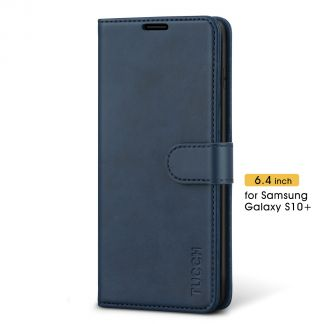 TUCCH Samsung Galaxy S10 Plus Wallet Case Folio Style Kickstand With Magnetic Strap-Blue