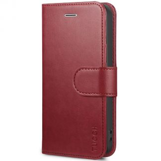 TUCCH iPhone SE/5S/5 Wallet Case with TPU Case, Retro Leather Wallet Case, Flip Book Case - Dark Red