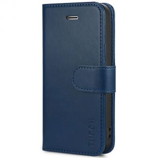 TUCCH iPhone SE/5S/5 Wallet Case with TPU Case, Retro Leather Wallet Case, Flip Book Case-Blue