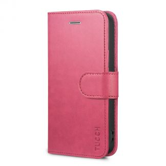 TUCCH iPhone SE/5S/5 Wallet Case with TPU Case, Retro Leather Wallet Case, Flip Book Case-Hot Pink