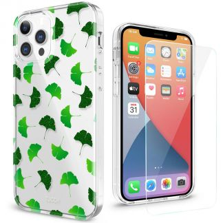 TUCCH iPhone 12 iPhone 12 Pro Clear Case, IML New Craft Scratchproof Shockproof Slim Case - Ginkgo