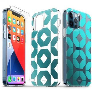 TUCCH iPhone 12 iPhone 12 Pro Clear Case, IML New Craft Scratchproof Shockproof Slim Case - Octagon