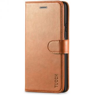 TUCCH iPhone 11 Leather Wallet Case Folio Flip Kickstand With Magnetic Clasp-Light Brown
