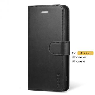 TUCCH iPhone 6 6s Wallet Case Folio Style Kickstand with Magnetic Strap