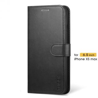 TUCCH iPhone XS Max Wallet Case Folio Style Kickstand With Magnetic Strap-Black