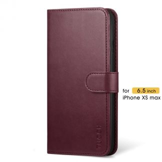 TUCCH iPhone XS Max Wallet Case Folio Style Kickstand With Magnetic Strap-Wine Red