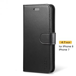 TUCCH New iPhone SE 2nd 2020 iPhone 7/8 Wallet Case Folio Style Kickstand With Magnetic Strap-Black