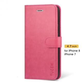 TUCCH New iPhone SE 2nd 2020 iPhone 7/8 Wallet Case Folio Style Kickstand With Magnetic Strap-Hot Pink