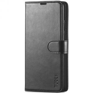 TUCCH Samsung Galaxy A72 Wallet Case Folio Style Kickstand With Magnetic Strap - Black