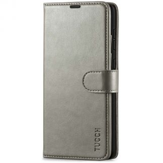 TUCCH Samsung Galaxy A72 Wallet Case Folio Style Kickstand With Magnetic Strap - Gray