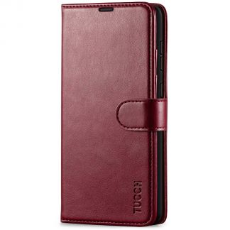 TUCCH Samsung Galaxy A72 Wallet Case Folio Style Kickstand With Magnetic Strap - Wine Red