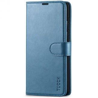 TUCCH Samsung Galaxy A72 Wallet Case Folio Style Kickstand With Magnetic Strap - Lake Blue