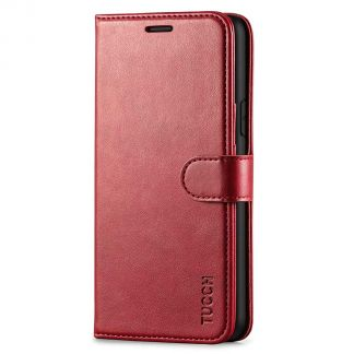 TUCCH IPhone 11 Pro Max Leather Wallet Case Folio Flip Kickstand With Magnetic Clasp-Dark Red