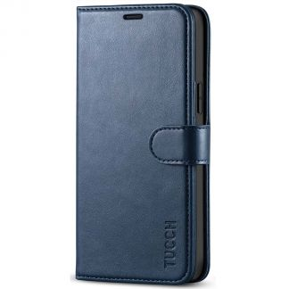 TUCCH iPhone 12 6.1-inch Wallet Case, iPhone 12 Pro 6.1-Inch Folio Flip Kickstand With Magnetic Clasp-Dark Blue