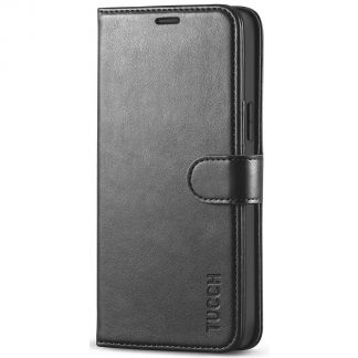 TUCCH iPhone 12 Wallet Case, iPhone 12 Pro 6.1-Inch Folio Flip Kickstand With Magnetic Clasp-Black