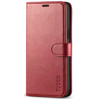 TUCCH iPhone 12 6.1-Inch Wallet Case, iPhone 12 Pro Folio Flip Kickstand With Magnetic Clasp-Dark Red