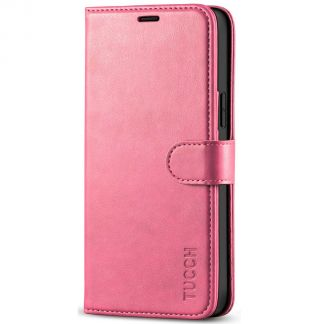 TUCCH iPhone 12 /5G 6.1-Inch Wallet Case, iPhone 12 Pro /5G Folio Flip Kickstand With Magnetic Clasp-Hot Pink