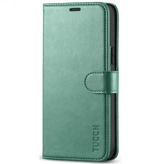 TUCCH iPhone 12 6.1-Inch Wallet Case, iPhone 12 Pro Folio Flip Kickstand With Magnetic Clasp-Myrtle Green