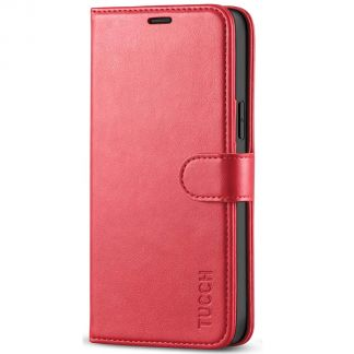 TUCCH iPhone 12 6.1-Inch Wallet Case, iPhone 12 Pro Folio Flip Kickstand With Magnetic Clasp-Red
