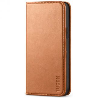 TUCCH iPhone 12 6.1-Inch Wallet Case - iPhone 12 Pro Flip Cover With Magnetic Closure-Light Brown