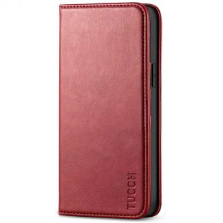 TUCCH iPhone 12 6.1-Inch Wallet Case - iPhone 12 Pro Flip Cover With Magnetic Closure-Dark Red