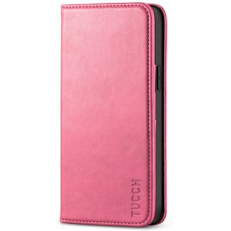 TUCCH iPhone 12 6.1-Inch Wallet Case - iPhone 12 Pro Flip Cover With Magnetic Closure-Hot Pink
