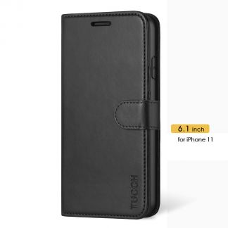 TUCCH iPhone 11 Leather Wallet Case Folio Flip Kickstand With Magnetic Clasp-Black