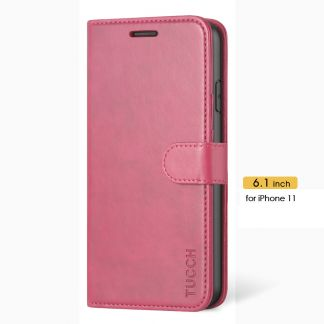TUCCH iPhone 11 Leather Wallet Case Folio Flip Kickstand With Magnetic Clasp-Hot Pink