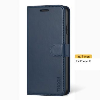 TUCCH iPhone 11 Leather Wallet Case Folio Flip Kickstand With Magnetic Clasp-Blue