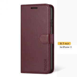 TUCCH iPhone 11 Leather Wallet Case Folio Flip Kickstand With Magnetic Clasp-Wine Red