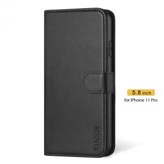 TUCCH iPhone 11 Pro Wallet Case Folio Flip Kickstand With Magnetic Clasp-Black