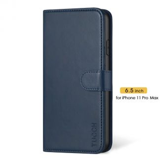 TUCCH IPhone 11 Pro Max Leather Wallet Case Folio Flip Kickstand With Magnetic Clasp-Dark Blue
