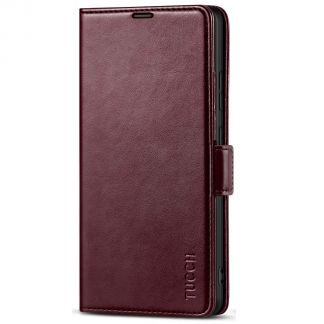 TUCCH Samsung S21 Ultra Wallet Case, Samsung Galaxy S21 Ultra 5G Flip PU Leather Cover, Stand with RFID Blocking and Magnetic Closure-Wine Red