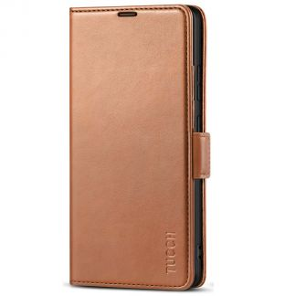 TUCCH Samsung S21 Ultra Wallet Case, Samsung Galaxy S21 Ultra 5G Flip PU Leather Cover, Stand with RFID Blocking and Magnetic Closure-Light Brown
