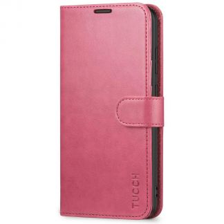 TUCCH Samsung Galaxy S20 Wallet Case Folio Style Kickstand With Magnetic Strap-Hot Pink