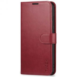 TUCCH Samsung Galaxy S20 Ultra Wallet Case Folio Style Kickstand With Magnetic Strap-Red