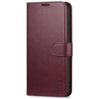 TUCCH Samsung Galaxy S20 Ultra Wallet Case Folio Style Kickstand With Magnetic Strap-Wine Red