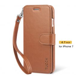 TUCCH iPhone 7 Leather Case with Wrist Strap, Flip and Kickstand with 3 Card Slot - Brown