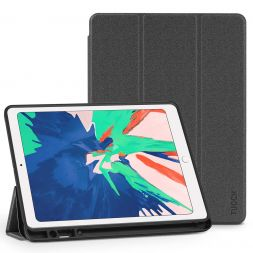 TUCCH iPad Air 3 Smart Case 10.5-inch 2019, Auto Sleep/Wake, Trifold Stand, PU Leather Cover with Pencil Holder, Soft TPU Back Cover Compatible with iPad Air (3rd Gen) 10.5 inch-Gray