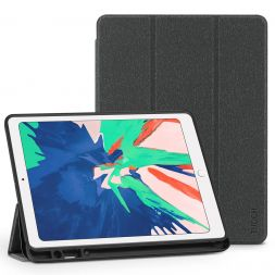 TUCCH iPad Air 3 Smart Case 10.5-inch 2019, Auto Sleep/Wake, Trifold Stand, PU Leather Cover with Pencil Holder, Soft TPU Back Cover Compatible with iPad Air (3rd Gen) 10.5 inch-Dark Grey