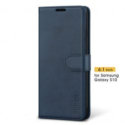 TUCCH Samsung Galaxy S10 Wallet Case Folio Style Kickstand With Magnetic Strap-Blue