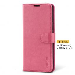 TUCCH Samsung Galaxy S10 Plus Wallet Case Folio Style Kickstand With Magnetic Strap-Hot Pink