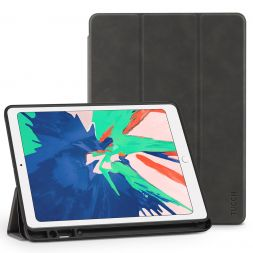 TUCCH iPad Air 3 Smart Case 10.5-inch 2019, Auto Sleep/Wake, Trifold Stand, PU Leather Cover with Pencil Holder, Soft TPU Back Cover Compatible with iPad Air (3rd Gen) 10.5 inch-Iron Grey