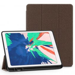 TUCCH iPad Air 3 Smart Case 10.5-inch 2019, Auto Sleep/Wake, Trifold Stand, PU Leather Cover with Pencil Holder, Soft TPU Back Cover Compatible with iPad Air (3rd Gen) 10.5 inch-Mocha Brown
