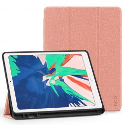 TUCCH iPad Air 3 Smart Case 10.5-inch 2019, Auto Sleep/Wake, Trifold Stand, PU Leather Cover with Pencil Holder, Soft TPU Back Cover Compatible with iPad Air (3rd Gen) 10.5 inch-Salmon Red