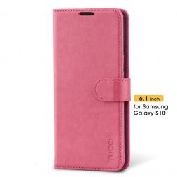 TUCCH Samsung Galaxy S10 Wallet Case Folio Style Kickstand With Magnetic Strap-Hot Pink