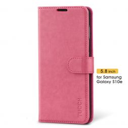 TUCCH Samsung Galaxy S10E Wallet Case Folio Style Kickstand With Magnetic Strap-Hot Pink