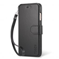 TUCCH iPhone 7 Leather Wallet Case Magnetic Closure with Wrist Strap
